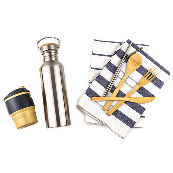 Reusable coffee cup, straw, utensils